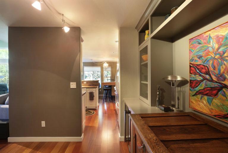 Side view of wooden kitchen floor