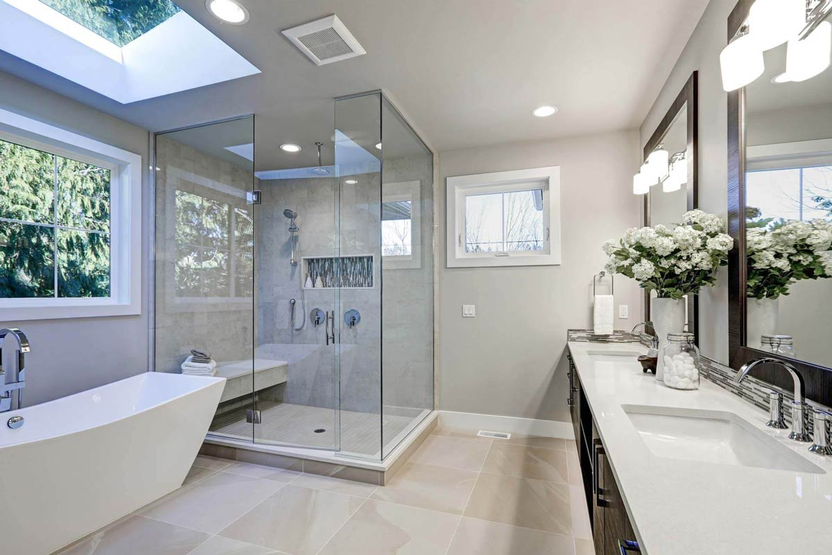 Luxury bathroom shower with glass panels