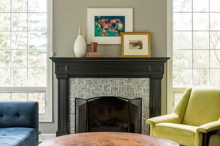 Built in fireplace between window walls