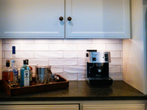 coffee maker on marble kitchen countertop