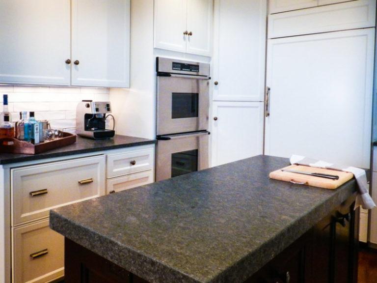 Dark marble kitchen countertop