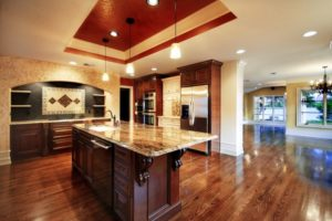 Wooden luxury kitchen with marble countertop