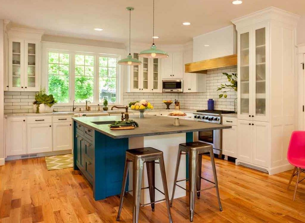 Simple kitchen design with white cabinets
