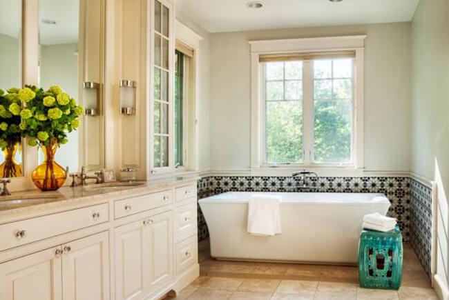 white Stand alone tub below window