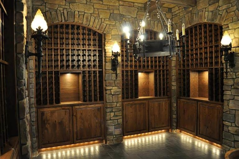 Stone wall mounted wine cellar