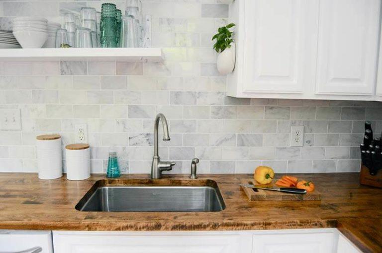 Sink inside wooden coutnertop