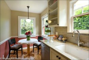 The undermounted kitchen sink with granite countertops and a high-end faucet with a single handle.