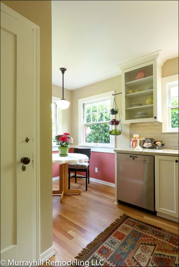 White doors on kitchen entrance