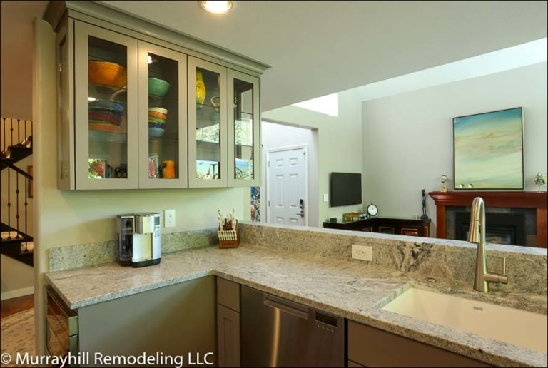 Kitchen cabinets with marble countertop