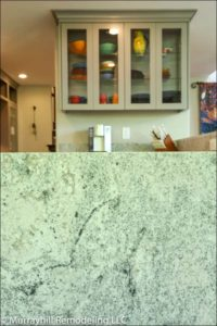 Marble countertop in kitchen
